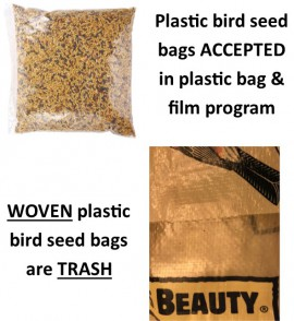 picture of plastic bird seed bags